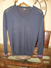 used PS PAUL SMITH solid navy merino wool sweater size S $295 Neiman