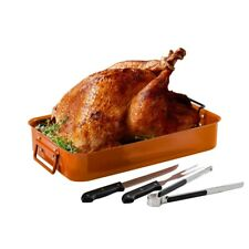 Ovente Oven Roasting Pan Non Stick Steel Tray, Rack and Carving Knife CWR24619CO