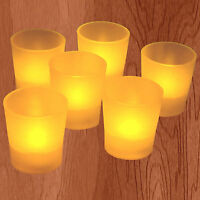NEW 6 X Amber Mood Color Led Lights Flameless Votive Candle Tea Light Candles
