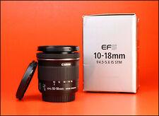 Canon EF-S 10-18mm Image Stabiliser F4.5-5.6 IS STM Zoom Lens +F/R Lens Caps Box