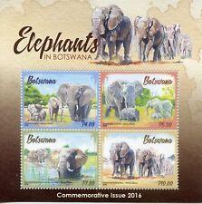 Botswana 2016 Elephants 4v M/S Wild Animals Fauna Stamps