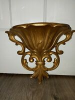 Vintage Hollywood Regency Gold Tone Wall Pocket HomCo 1978 Sconce Ornate Chic