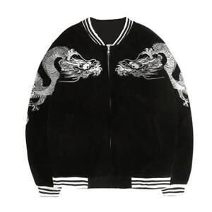 Womens Embroidery Harajuku Dragon Jacket Black Japanese Coat Fashion Jacket Chic