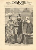 1872 ANTIQUE PRINT - ROME - PRINCE AND PRINCESS OF WALES AND IMPORTUNATE FLOWER