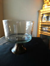 Anchor Hocking?  Clear Glass Flashed Dawn Footed 3 Qt Trifle Bowl
