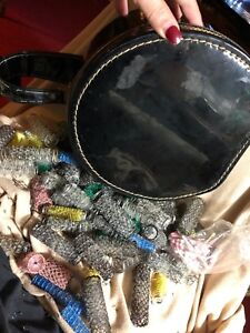 Vtg Lot Beauty Case & 95 brush Style mesh metal & plastic curlers rollers, pics