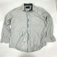 Club Room Gray White Striped Button Down Long Sleeve Mens Shirt Size Large