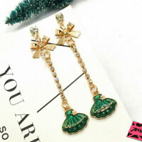 New Green Cute Shell Chain Crystal Bow Betsey Johnson Women Stand Earrings