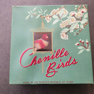 12 Vintage Chenille Birds Decorations In Original Box Collectible