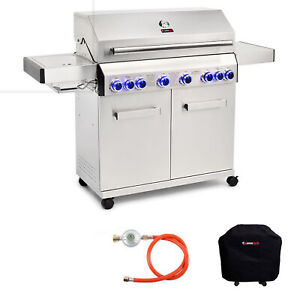 CosmoGrill Platinum Gas Grill BBQ 6+2 Stainless Steel For Outdoor Barbecue