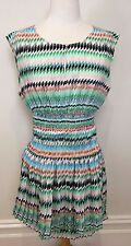 COUNTRY ROAD Geometric Print Cap Sleeve Concertina Pleat Ruched Waist Dress 12