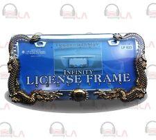 LICENSE PLATE FRAME DRAGON CHROME/GOLD LF623