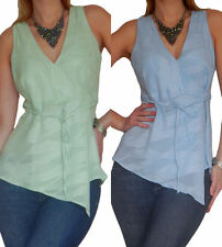 V Neck Textured Sleeveless Tops & Shirts for Women