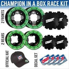 """DWT Green Champion in a Box 10"""" Front 9"""" Rear Rims Beadlock Rings Can-Am DS 450"""