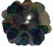 100 x 25mm large round black laser beam sequins