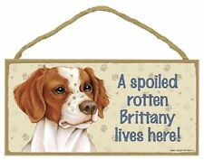 Brittany Wood Dog Sign Wall Plaque 5 x 10 for Dog Lovers Gift House Leash Breed