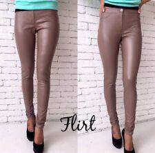 Strech Leather beige leggings