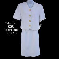 Talbots KGR Women's Skirt Suit Size 10 White Modest Textured NWT