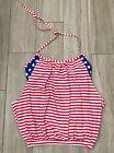 Patriotic US Flag Swim Top Women's M  Tankini Beachwear Bathing Swimwear