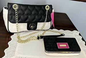Betsey Johnson Crossbody Purse Black White Heart Quilt Pattern + Matching Wallet