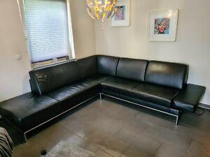 Himolla Ecksofa Leder Couch Garnitur Schwarz Chrome Sofa NP 6500€ Gepflegt TOP