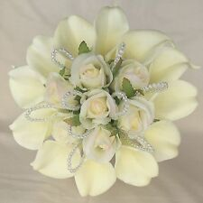 BRIDAL POSY BOUQUET IVORY CALA LILIES, ROSES, ARTIFICIAL SILK WEDDING FLOWERS