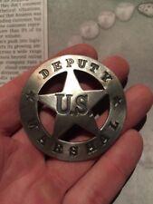 Deputy Marshal Badge 1921 Pat. Silver Metal Cast Vintage Style NR Wyatt Earp
