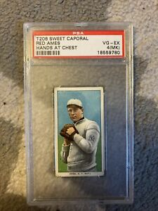 1911 T206 Red Ames Hands At Chest  - PSA 4 MK RARE Sweet Caporal 150/30