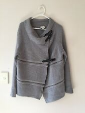 Womens Witchery Wool Zipper Cardigan Jumper AsSeenOn Olivia Palermo Grey Size XL