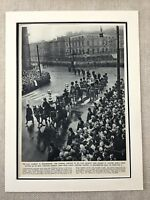 1952 King George IV Funeral Procession Westminster Londra Vintage Stampa