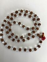 Rudraksha  with spatik Mala garland 108 Plus 1 Beads USA Seller