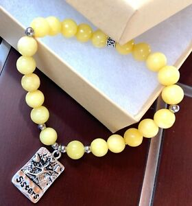 YELLOW AGATE SISTERS STRETCH BRACELET LOVE AND SUPPORT HEALING GEMSTONE NIB