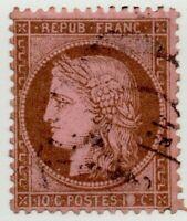 1871/73 FRANCIA CERERE 10 CENT. MARRONE CAT.UNIF. N.54 USATO