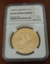 Great Britain UK 1990 Gold 5 Pounds Sovereigns NGC PF69UC