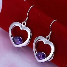 Silver Plated Amethyst Heart Earrings Pair of Dangle Dangly Drop .925 Sterling