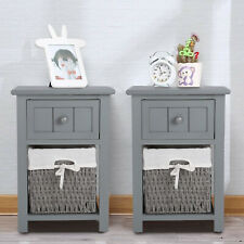 Set of 2 Wooden Bedside Units Tables Drawers with Wicker Storage Shabby Chic