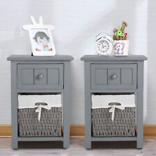 2 x Grey Bedside Tables With Wicker Storage Baskets Bedrooms Furnitures Cabinet