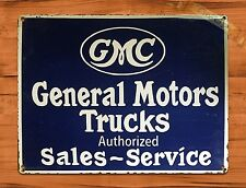 "TIN-UPS TIN SIGN ""GMC General Motors Trucks"" Vintage Garage Auto  Decor"