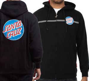 SANTA CRUZ - Classic Dot Skateboard Hoodie - Zip Up Hooded Top / Hoody BLACK