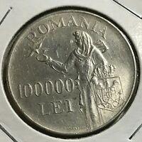 1946 ROMANIA SILVER 100,000 LEI HIGH GRADE CROWN COIN