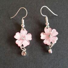 Rhinestones Dangle Drop Pierced earrings Flower Earrings Silve Toned w/ Faux
