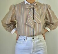 80s Vintage secretary blouse beige with stripes and tie front