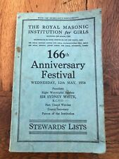 More details for  royal masonic institution for girls - 166th anniversary festival stewards lists