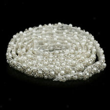 1yd White Pearl Beaded Lace Trim Fabric Wedding Dress Sewing Ribbon Applique