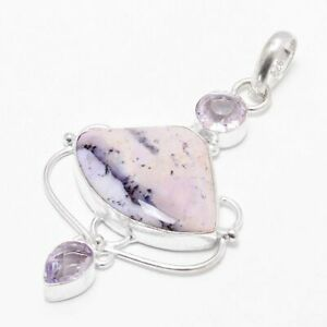 Dendritic Opal,Pink Topaz Gemstone Silver Plated Jewelry Pendant SP-1654