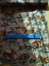 6408 1 yd vintage 1950's cotton fabric, Cute dogs playing, mushrooms
