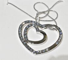 Heart Necklace - Silver Tone Aqua Blue Crystals - CARLINO BOXED Valentines Gift