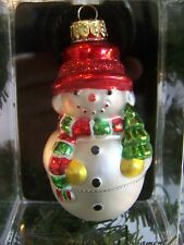 Snowman With Christmas Tree - Mercury Glass