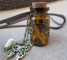 Big Keepsake Brown Bottle Long Leather Cord Necklace Cork Lid Butterfly Charm