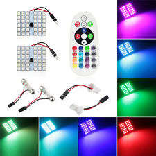 2X T10 36SMD Universal Car RGB Festoon Dome Reading Light Lamp Remote Control